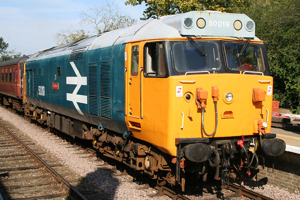 50019 at Thuxton on the 1030 Dereham - Wymondham Abbey. 24.09.11