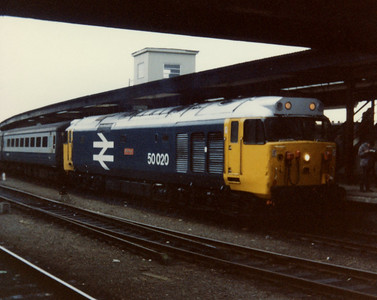 50020 at York on arrival with a service from Plymouth. 31.12.83
