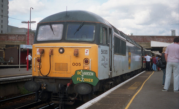 """56005 at Southampton on Pathfinder Tours """"The D.C Green Flasher"""". 17.07.93"""