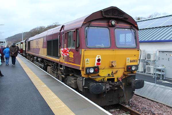 "66003 on the blocks at Tweedbank on 1Z62 UK Railtours ""The Waverley"". 30.12.15"