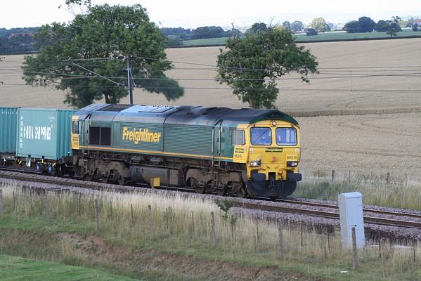 66515 passes Colton on 4L79 Wilton - Felixstowe liner service.