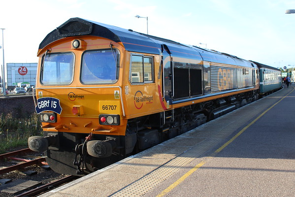 66707 at Great Yarmouth on arrival on 1Z18 GBRf 15 charter. 09.09.16