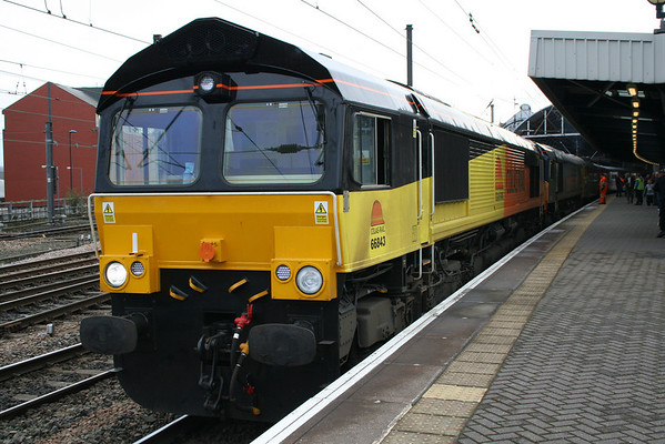 "66843 & 66432 in multiple at Newcastle on Spitfire Railtours ""The Cumbrian Crusader 2"". 20.03.10"