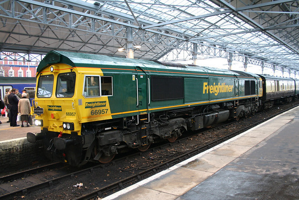 """66957 on arrival at Southport on Pathfinders Tours """"The Lancs Links"""". 13.12.08"""
