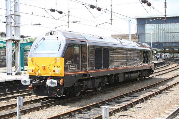 A sunny view of 67005 at Carlisle. 02.07.05