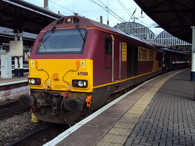 67008 at Newcastle on the front of a mark 4 set forming 5Z24 1143 Newcastle - Bounds Green. 15.02.10