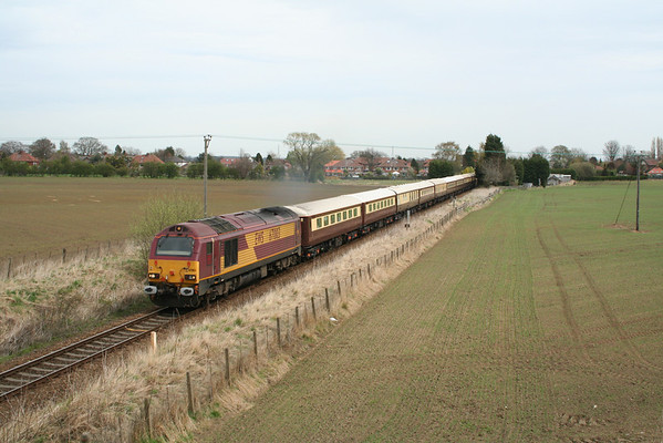 67003 departs Poppleton on 1Z67 0703 Norwich-Harrogate Northern Belle service. 26.04.08