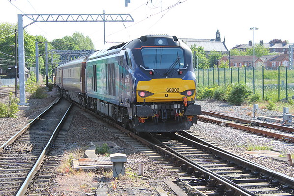 68003 on the rear of the Northern Belle departing York on route to Cleethorpes. 07.06.15