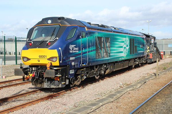 68001 relaxes in the sunshine in York Parcels Siding. 01.03.15
