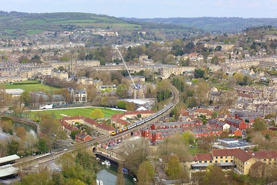 20118 leading 20132 working 5X20 Eastleigh to Long Marston at Bath on 13 April 2021  Class20, HNRC, GWMLBath