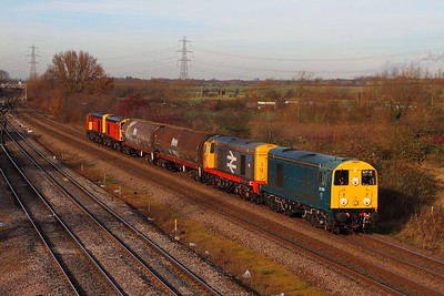 20096+20118 tnt 20314+20311 6M21 Barrow Hill to Old Dalby at Loughborough on the 9th December 2013 running nearly 200 minutes late