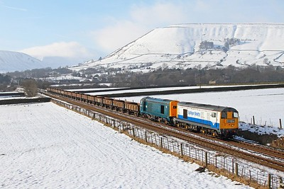 20189+20205 on the 6Z21 1325 Peak Forest to Chaddesden Sidings at Edale bridge 52 on the 7th February 2015