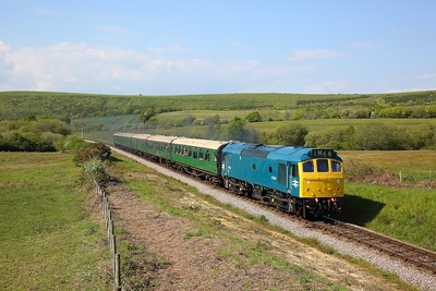 D7535 powers away from Corfe with 1532 River Frome to Swanage on the 12th May 2019