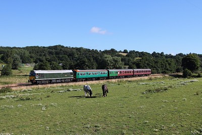 D5185 (25035) on the 2J59 0920 Tunbridge West Wells to Eridge at Pokehill farm crossing on the 6th August 2016.