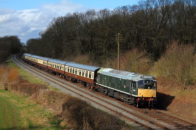 D5185 tnt D5401 on the 2A29 1415 Loughborough to Leicester North at Kinchley Lane on the 28th March 2015