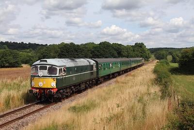 D5310 tnt D9537 on the 2J67 1320 Tunbridge Wells West to Eridge at Pokehill farm on the 5th August 2016