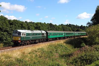 D5310 on the 2J61 1020 Tunbridge Wells West to Eridge at Pokehill farm on the 6th August 2016