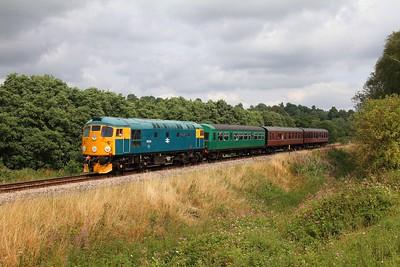 26038 on the 2J65 1220 Tunbridge Wells to Eridge at Pokehill farm crossing on the 1st August 2014