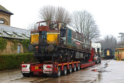 D5353 27007 final minutes at the Mid Hants Railway at Alresford as she is prepared to be taken to Wishaw, Sutton Coldfield on a low loader on the 21st January 2018 5
