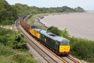 31601 leads 31602 works the 6Z31 1107 Chaddeston to Cardiff Tidal at Purton on 1 September 2012  Class31, DCR, LydneyLine