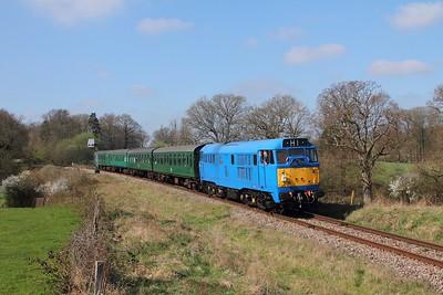 31289 on the 1110 Eridge to Tunbridge Wells departing Groombridge on the 2nd April 2017