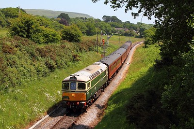 33012 tnt 37518 on the 1223 Swanage to Wareham at Harmans Cross on the 14th June 2017