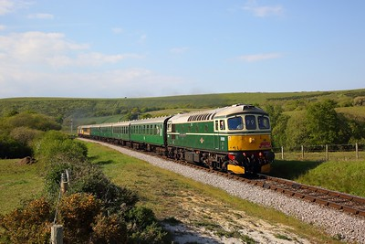 33012 on the 1632 River Frome to Swanage approaching Corfe Common on the 12th May 2019