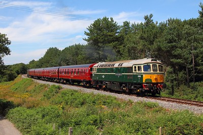 33012 tnt 33025 on the 2Z13 1319 Wareham to Swanage at Creech Bottom on the 9th July 2017