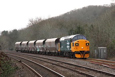 37025+5 HHAs on 6B11 1308 Barry to Barry via Briton Ferry and Pengam departing Pencoed loop on the 27th January 2016 1