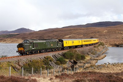 37057 tnt 37421 on the 1Q78 Inverness Millburn to Inverness Millburn via Kyle of Lochalsh at Loch Achanalt on the 16th April 2017