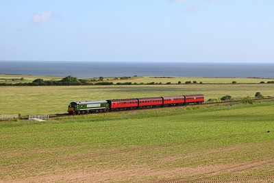 D8 approaching Weybourne with the 0815 Sheringham to Holt on the 9th June 2017