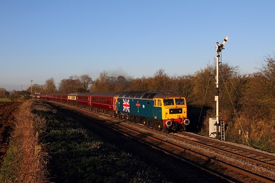 47580 tnt 47804 on the 5Z14 Carnforth to Norwich at Ashwell on the 5th December 2014