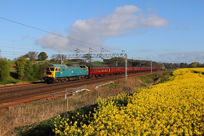 47270 tnt 47580 on the 1Z27 Carnforth to Holyhead at Little Bridgeford on the 22nd April 2017