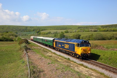 50007 on the 1539 Corfe to Swanage at Corfe Common on the 12th May 2019