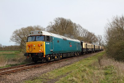 50008 on the 2M39 1210 Peterborough to Wansford at Castor on the 10th April 2016