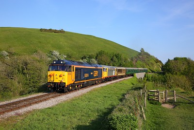 50007+26007 on the 1802 Corfe to Norden nearing Norden on the 12th May 2019