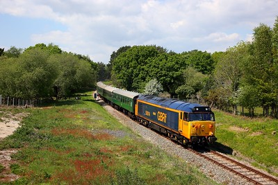 50007 on the 1232 River Frome to Swanage at Catseye on the 12th May 2019
