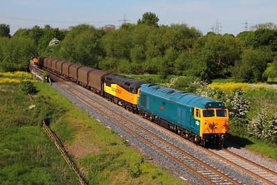 50007+56105 tnt 47739 on the 6E07 Washwood Heath to Boston Docks at Lea Marston on the 17th May 2014
