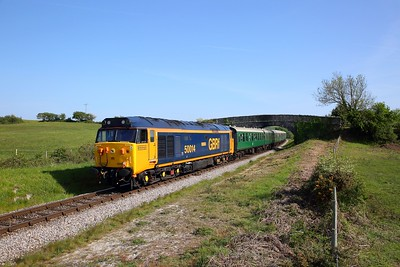 50007 on the 1639 Swanage to River Frome at Corfe Common on the 12th May 2019