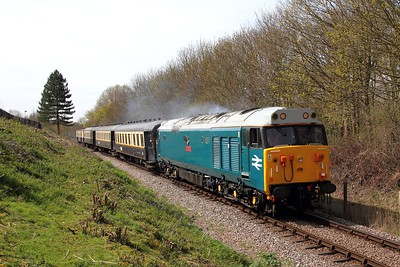 50008 on the 2E39 1122 Wansford to Peterborough leaving Orton Mere on the 10th April 2016