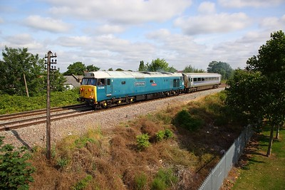50008+12615 which has a split toilet tank on the 5Z21 Wembley to Barton Hill south of Neasden jnc towards Acton canal wharf on the 13th July 2019