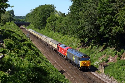 50008 leading 67028 on 5Z50 Eastleigh to Westbury at Oakley on 9 June 2021  Class50, HansonandHall, SWML