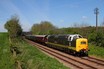 55016 on the 1300 Loughborough to Leicester North at Kinchley Lane on the 3rd May 2014 (1)