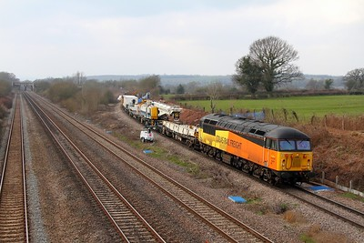 56094 6Z56 East Usk Yard to Bescot over the Bishton Flyover