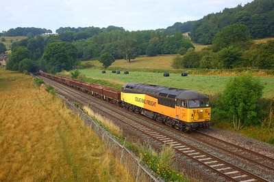 56094 tnt 56090 on the 6C75 Derby St Mary's junction to Belmont Down yard at Chevin, Milford on the 5th August 2018