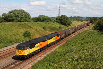 56087+56105 on the 6V62 Tilbury to Llanwern at Pilning on the 5th July 2014