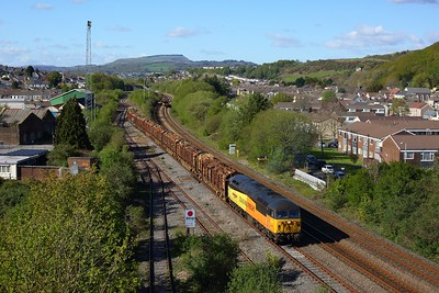 56049 working 6M51 Baglan Bay to Chirk departing Briton Ferry yard on 6 May 2021  Class56, ColasRail, SouthWalesmainline