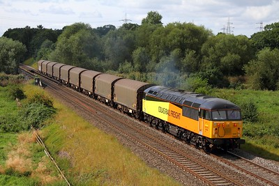 56094 on the 6E07 Washwood Heath to Boston Docks running 25minutes early at Lea Marston on the 28th August 2012