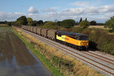 56087 working 6E07 Washwood Heath to Boston Docks at Barrow upon Trent on 12 October 2012  Class56, ColasRail, Stensonline