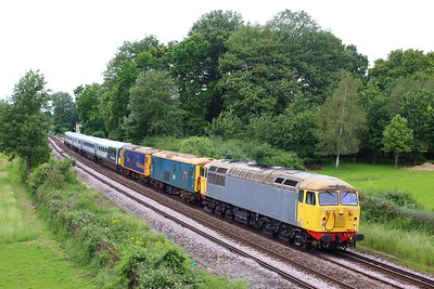 56081 leading 73201, 73141 and 442420 on 5Q85 1224 Wolverton to Bournemouth at Lyne on 5 June 2021  Class56, GBRf, ChertseyLoopLine, Class442, Unitdrag